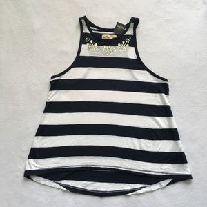 Hollister Bettys Striped Jeweled Racerback Top XS